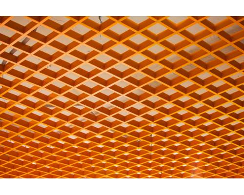 Потолок Грильято 100x100 оранжевый RAL-2007