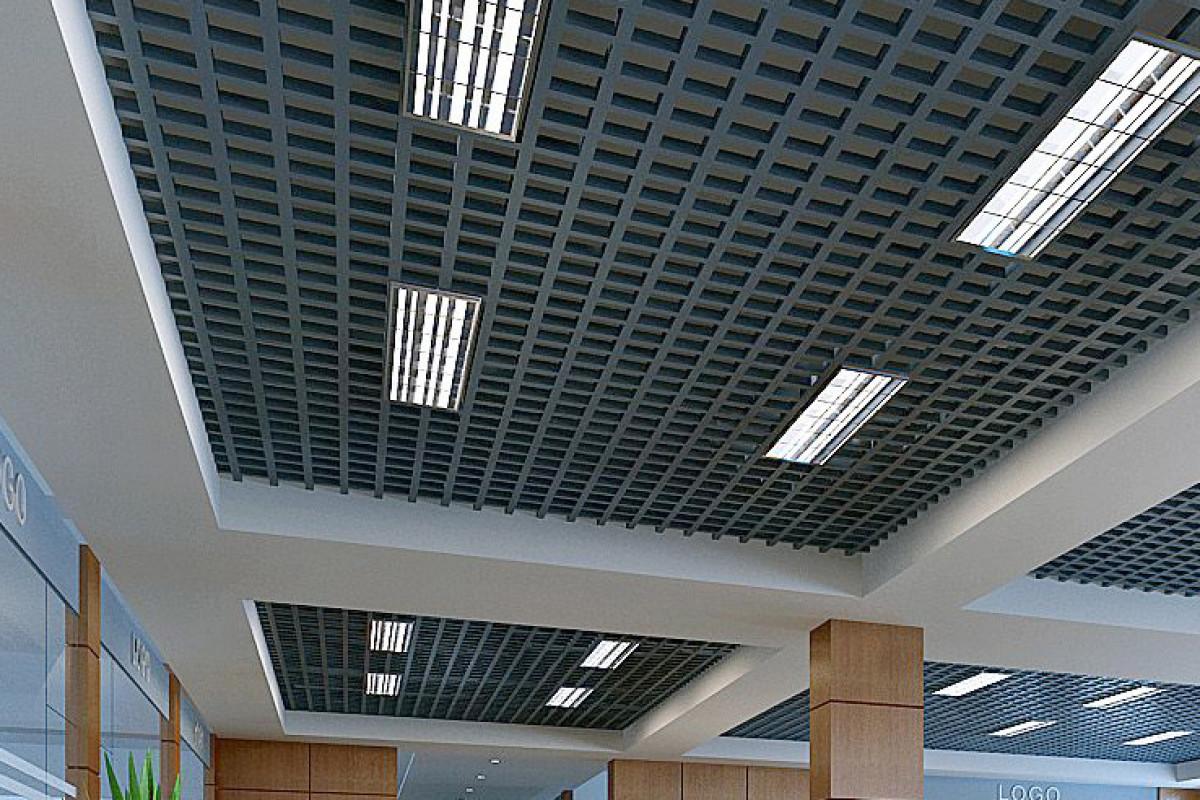 Потолок Грильято 100x100 GL-15  металлик серебристый