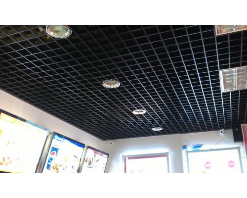 Потолок грильято 150х150 черный