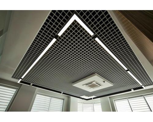 Потолок Грильято 100х100 металлик матовый